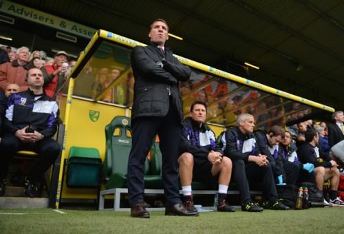 Brendan Rodgers durante l'ultima trasferta del suo Liverpool a Norwich (Michael Regan/Getty Images Europe)